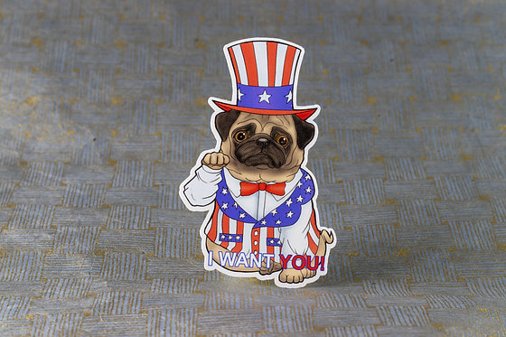 Patriotic Pug (Die Cut Sticker)