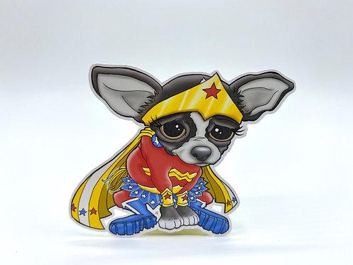 Wonder Woman Chihuahua (Die Cut Sticker)