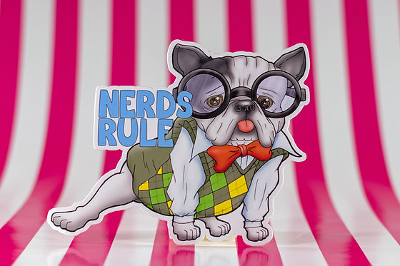 Nerds Rule - Frenchie (Die Cut Sticker)