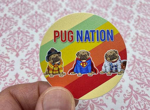 Pug Nation (Round Sticker)