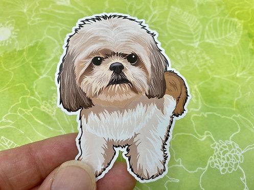 Brown & White Shih Tzu (Die Cut Sticker)