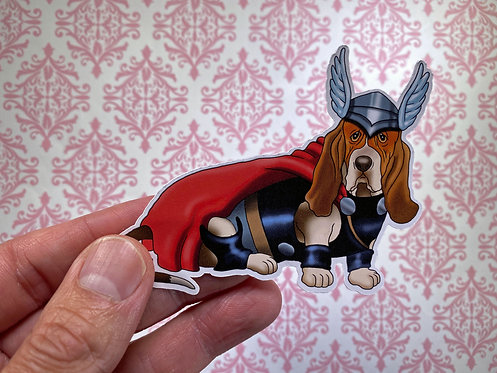 Basset Hound Thor (Die Cut Sticker)