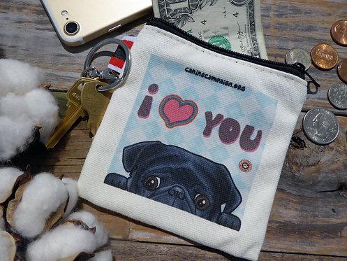 I <3 You - Black Pug (4.5in x 4.5in)
