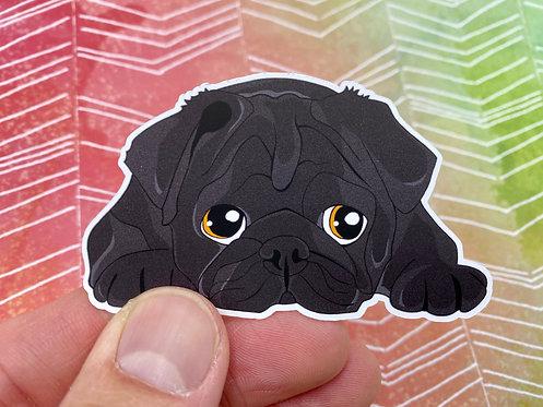 Black Pug (Die Cut Sticker)
