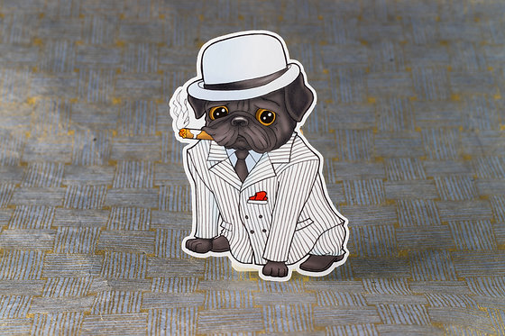 Pug in Suit (Die Cut Sticker)