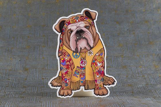 Hippie Bulldog (Die Cut Sticker)