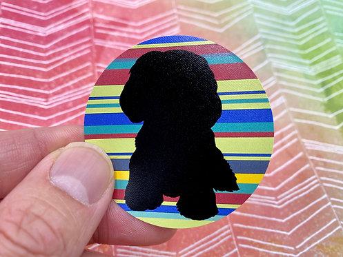 Shih Tzu Silhouette (Round Sticker)
