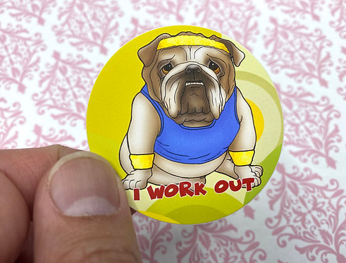 i Work Out - Bulldog (Round Sticker)
