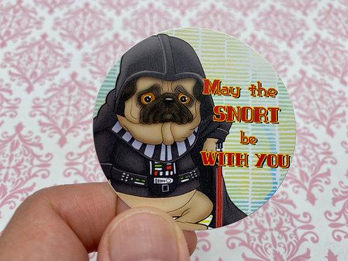 Snort Master - Pug (Round Sticker)