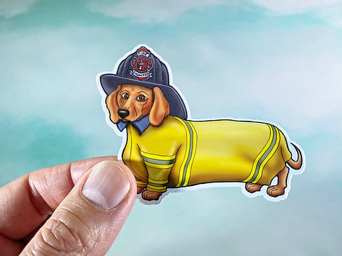 Firefighter Dachshund (Die Cut Sticker)