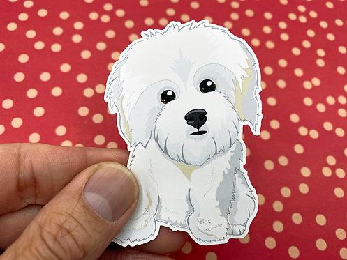 Fluffy White Dog (Die Cut Sticker)