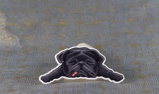 Sleeping Black Pug (Die Cut Sticker)