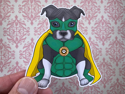 Superhero Pitbull (Die Cut Sticker)