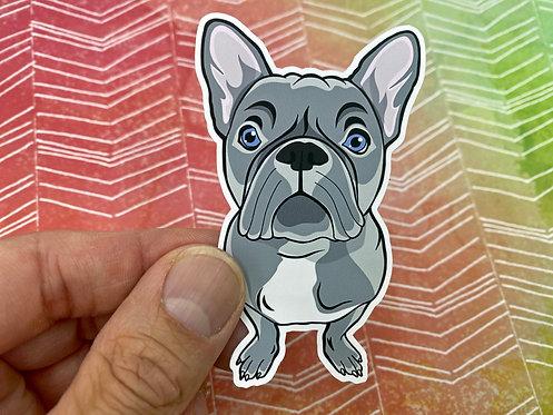 Gray Frenchie (Die Cut Sticker)