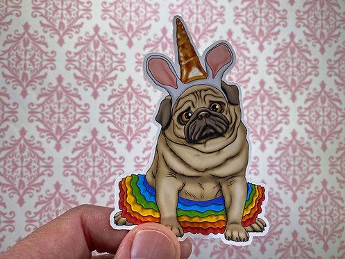 Unicorn Pug (Die Cut Sticker)