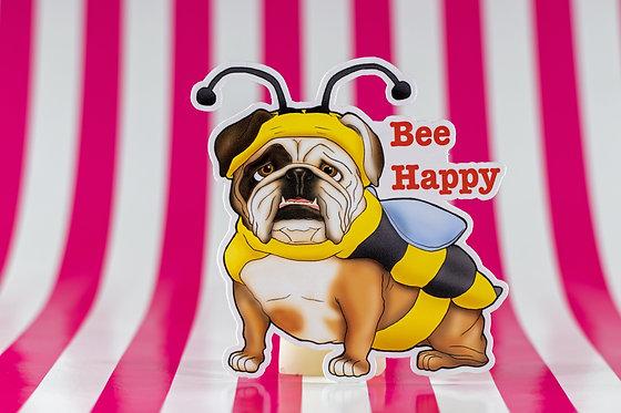 Bee Happy (Die Cut Sticker)