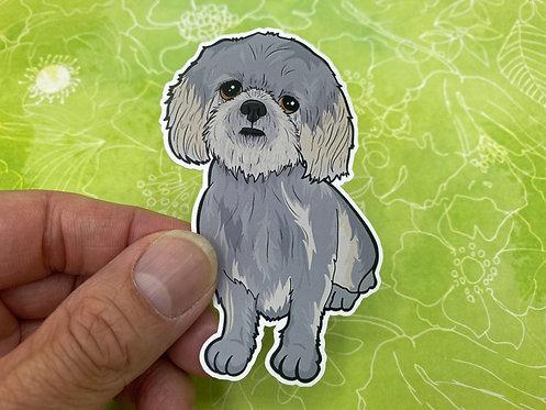 Gray Shih Tzu (Die Cut Sticker)