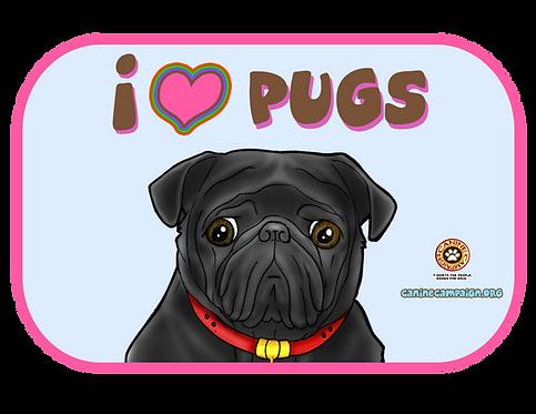 I <3 Pugs - Black Pug