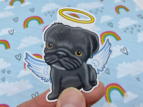 Angel Pug (Die Cut Sticker)