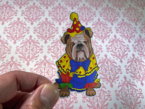 Bulldog Clown (Die Cut Sticker)