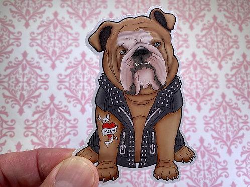 Bulldog Biker (Die Cut Sticker)