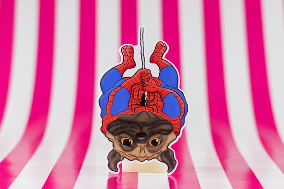 Spiderman Pug (Die Cut Sticker)