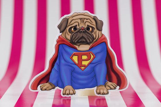 Super Pug (Die Cut Sticker)