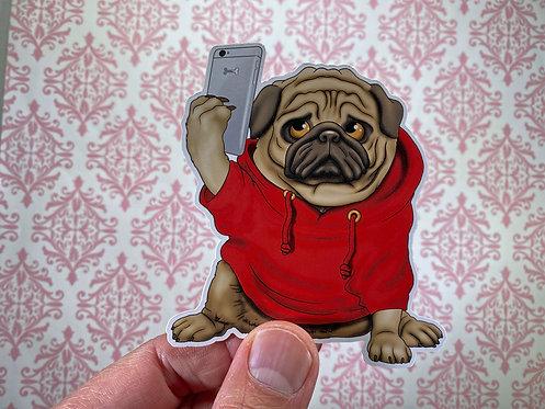 Selfie Pug (Die Cut Sticker)