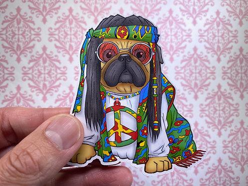 Hippie Pug (Die Cut Sticker)