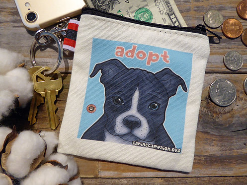Adopt - Black Pitbull (4.5in x 4.5in)