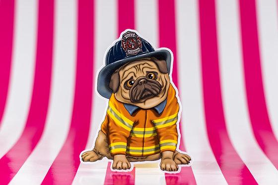 Firefighter Pug (Die Cut Sticker)