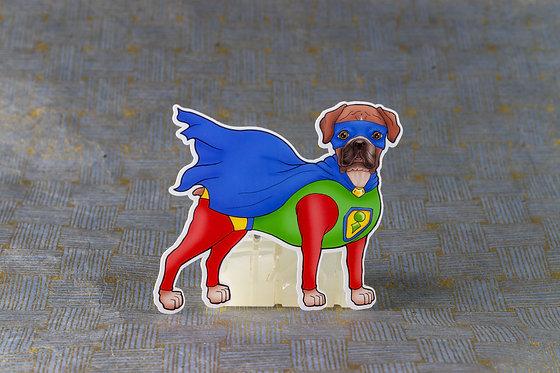 Boxer Superhero (Die Cut Sticker)