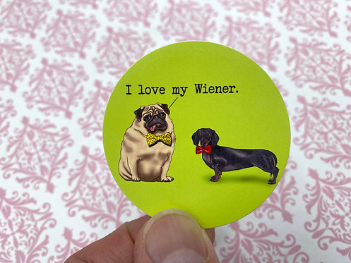 I Love My Wiener (Round Sticker)