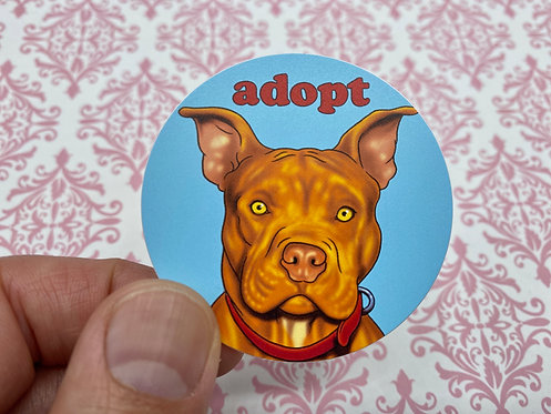 Pitbull Adopt (Round Sticker)
