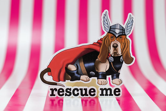 Rescue Me - Basset Hound (Die Cut Sticker)