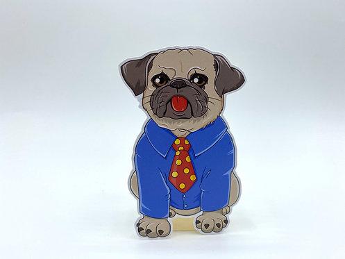 Pug in Necktie (Die Cut Sticker)