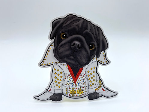 Elvis Pug (Die Cut Sticker)