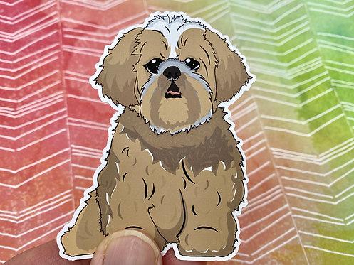 Brown Shih Tzu (Die Cut Sticker)