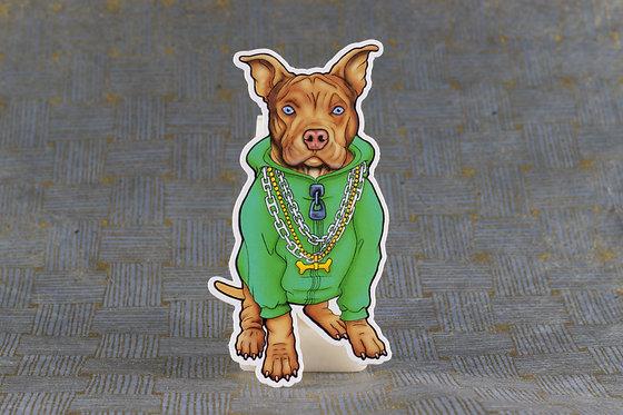 Pitbull Hoodie (Die Cut Sticker)