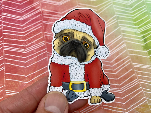 Santa Pug (Die Cut Sticker)