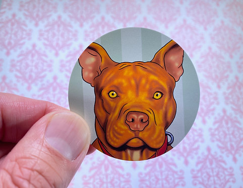 Adorable Pitbull (Round Sticker)