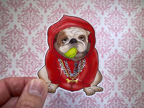 Bulldog Hoodie (Die Cut Sticker)