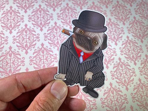 Pug in Suit (Die Cut Sticker)