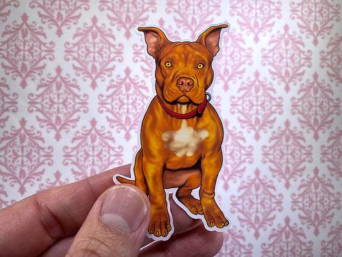 Red Pitbull (Die Cut Sticker)