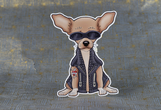 Biker Chihuahua (Die Cut Sticker)