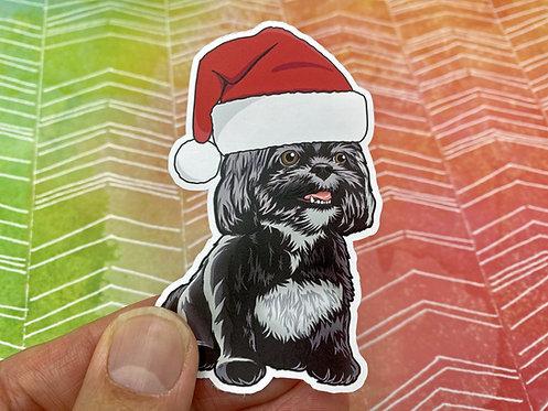 Santa Shih Tzu (Die Cut Sticker)