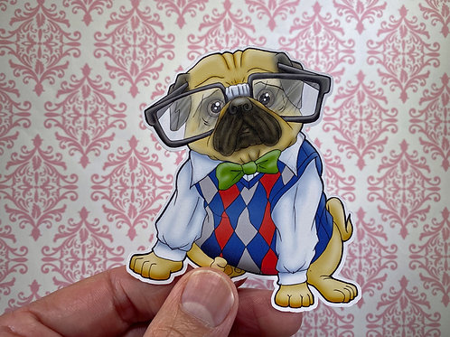 Nerdy Pug (Die Cut Sticker)