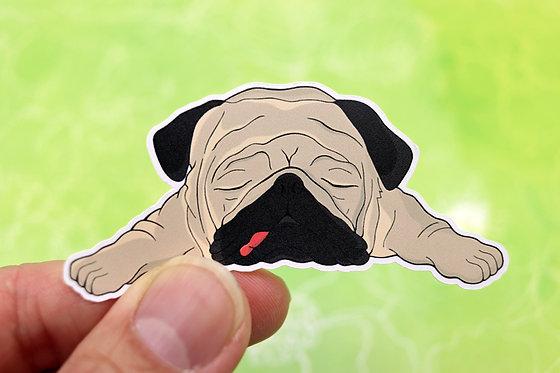Sleeping Pug (Die Cut Sticker)
