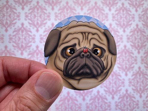 Ladybug Pug (Round Sticker)