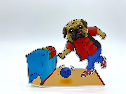 Bowling Pug (Die Cut Sticker)